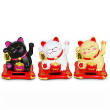 Solar Powered Chinese Welcoming Lucky Beckoning Fortune Cat Waving Hand 3.5''