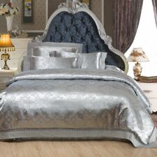 Luxury Jacquard 100% Cotton And Silk 4Pcs Bed Linen Silver Gray Duvet Cover Set