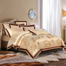 Luxury Jacquard 100% Cotton And Silk 4Pcs Bed Linen Golden Duvet Cover Set