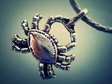 Silver Tone Crab Pendant Necklace USA Quality Adjustable Cord Black or Silver