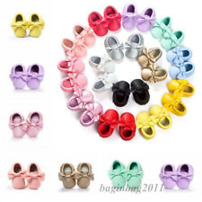 Baby Infant Boy Girl Moccasin Crib Shoes Baby Soft Sole PU Leather Shoes 0-18M