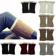 Womens Crochet Knit Lace Trim Leg Warmers Cuffs Toppers Boot Socks brown hot
