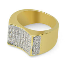 MEN's 18K Gold Plated 4.56 Carat CZ Iced Out Hip Hop Micropave Bling Ring