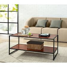 Rectangular Coffee Table Modern Deluxe Brown Accent Living Room Espresso 2-Tier