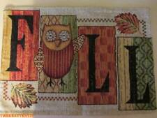 2 PC FALL OWLS TAPESTRY PLACEMATS 13 X 18