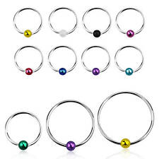 22G 1/4'' 5/16' 3/8'' Sterling Silver Captive Bead Ring 2 mm Ball Nose Hoop Ring