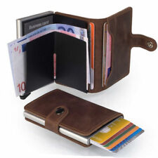 Genuine Leather Purse Business Card Credit Card Holder Clip Wallet Cash Holder