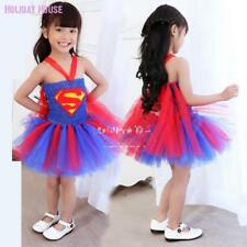 Children Sexy Superman Girl Costume Tutu Superhero Dress Supergirl Fancy Gown