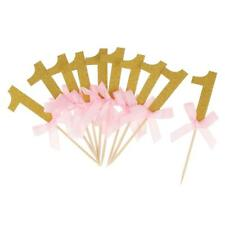 12 Glitter Number One Bow Cake Toppers Cupcake Picks Kids 1st First Birthday