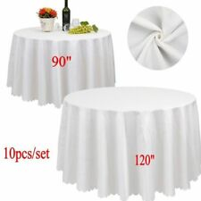 "10pcs 90"" 120"" White Round Covers Table Cloth Tablecloths Wedding Party Banquet"