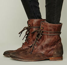 Leather Retro Womens Ankle Boot Lace Up Gladiator Roma Causal Rivet New Shoes