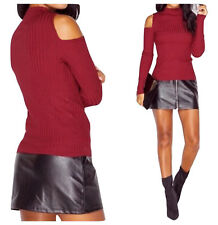 WOMENS HIGH NECK RIB LADIES CUT OUT COLD SHOULDER LONG SLEEVE KNITTED JUMPER TOP