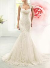 New White Ivory Lace Mermaid Wedding Dress Custom Size 4-6-8-10-12-14-16-18-20
