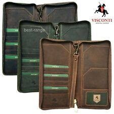 Visconti Passport Travel Wallet Zipped Real Leather Brown Green Tan New in Box