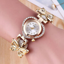 Women Golden Band Butterfly Bracelet Heart Quartz Rhinestone Lady Wrist Watch