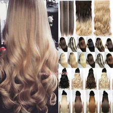 US 100% Natural Clip In Hair Extensions 3/4Full Head 5 Clips Straight Curly Wavy