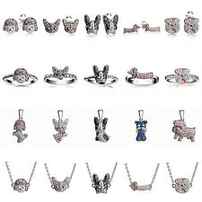 Dog Cat 925 STERLING SILVER Earring Stud Dangle Charms Ring Bracelet Necklace