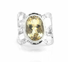 925 Sterling Silver Ring with Oval Cut Citrine Natural Gemstone Handcrafted