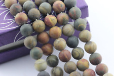 2.0mm Large Hole Matte Picasso Jasper Round Loose Beads 15.5'' Long 8mm/10mm