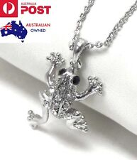 Crystal Frog Pendant 925 Sterling Silver Chain Necklace Gift Women's Jewellery