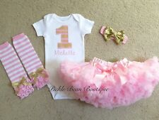 Girls 9 12 18 24 mo Personalized Pink Gold First 1st Birthday Girl Tutu Outfit