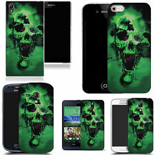 gel case cover for most Mobile phones - green holed skull silicone