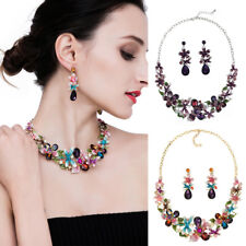 Multicolor Faux Crystal Luxury Flower Necklace Earrings wedding Jewelry Set