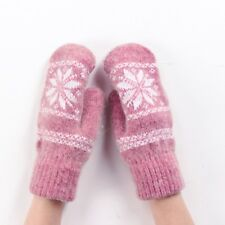 Mittens for Ladies Winter Unisex Accessories Kids Knitted Pink Blue Wool Gloves