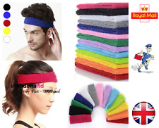 Cotton Sport Sweat Sweatband Headband Yoga Gym Stretch Unisex Head Band - UK