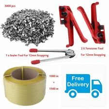 Heavy Duty Pallet Strapping Banding Kit Pack + Strapping Banding +  Seal Clips