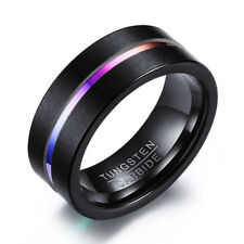 Tungsten Carbide Steel Wedding Engagement Men Women Black Band Ring Size 6-13