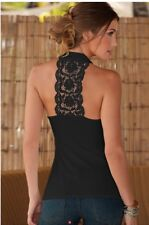 Lace Halter Open Back Sexy Tank Top - Black or Off White - Small - Medium