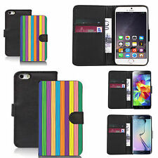 faux leather wallet case for many Mobile phones - multi stripe