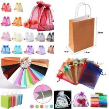 50/100pcs Organza/Kraft Paper Gift Bag Wedding Party Favour Jewelry Packing Bags