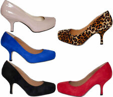 BRAND NEW LADIES MID HEEL PUMPS CONCEALED PLATFORM WORK COURT SHOES WOMEN'S SIZE