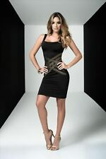 Black with Gold Accent Deep V Back with Cut-Outs Mini Tank Dress