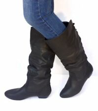 Women's Fashion Flat Low Heel Mid-Calf Knee High Slouch Riding Boots Shoes-Black