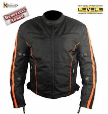 Xelement Men's Black and Orange Vented Tri-Tex Fabric Level-3 Padded Jacket