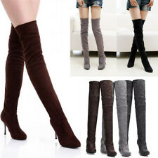 Ladies Women Winter High Heels Boots Pointed Toe Over Knee Stiletto Suede Boots