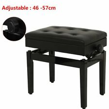 Adjustable 46-57CM Classical Piano Stool Bench Storage Keyboard Padded Seat