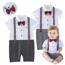 Baby Boy Wedding Christening Tuxedo Formal Suits Outfit Clothes+Suspenders 6-24M