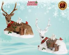 CHRISTMAS DECORATION Laying Stags - Brown & white Mantlepiece