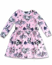 Six Bunnies Girl's Cute Pink Bats Dress LS Alternative Gothic Tattoo Retro Tunic