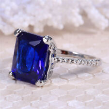3.1ct Blue Sapphire Women 925 Silver Jewelry Wedding Engagement Ring Size 6-10