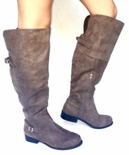 Women's Fashion Low Heel Thigh High - Knee High Slouch Riding Boots Shoes-Brown