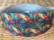 "1, 3 or 5 yards 7/8"" PARROT LOVE THEME grosgrain ribbon- FLAT RATE SHIPPING"