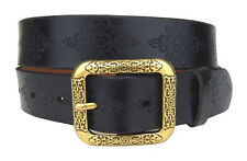Leather Belt Black Flowers Von Ella Jonte Leather Belt Women's Belt New Belt