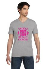 Tackle Breast Cancer Pink Ribbon Support Awareness V-Neck T-Shirt Fight