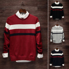 Casual Loose O-Neck Sweater Long Sleeve Stripe Pullover Knit Sweater Fashion Men
