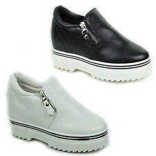 WOMENS LADIES PLATFORM CONCEALED WEDGE SKATER PUMPS TRAINERS  SHOES SIZE 3-8